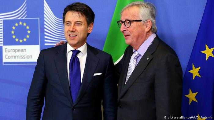 Italian Prime Minister Giuseppe Conte with European Commission President Jean-Claude Juncker in Brussels