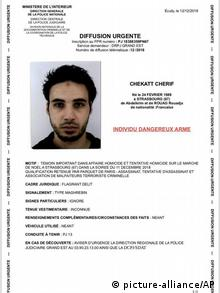 Frankreich, Straßburg: Tatverdächtiger des Straßburger Attentats Cherif Chekatt