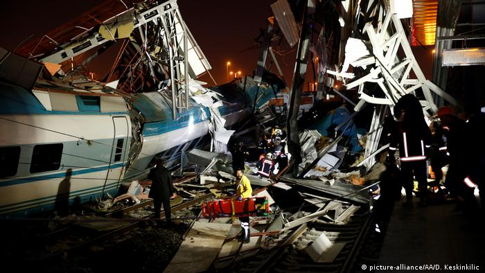 Rescue workers are seen at the site of the accident in Ankara