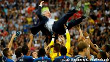 France players celebrate with Didier Deschamps after winning the soccer World Cup Final against Croatia at the Luzhniki Stadium, Moscow, Russia, July 15, 2018. REUTERS/Kai Pfaffenbach SEARCH POY SPORTS FOR THIS STORY. SEARCH REUTERS POY FOR ALL BEST OF 2018 PACKAGES. TPX IMAGES OF THE DAY.