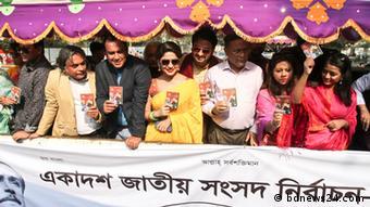 Bangladesch Prominente bei der Wahlkampagne