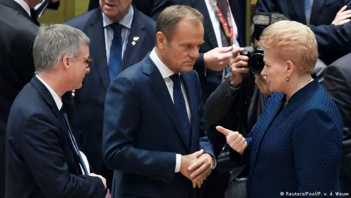 Belgien   Donald Tusk und Dalia Grybauskaite   EU-Gipfel in Brüssel