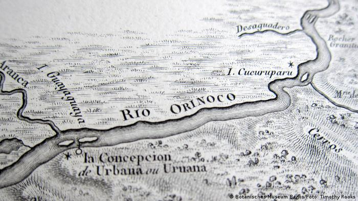 Humboldts handgezeichnete Karte des Orinoko-Flusses
