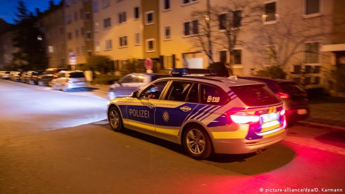 A police car drives through the St. Johannis district