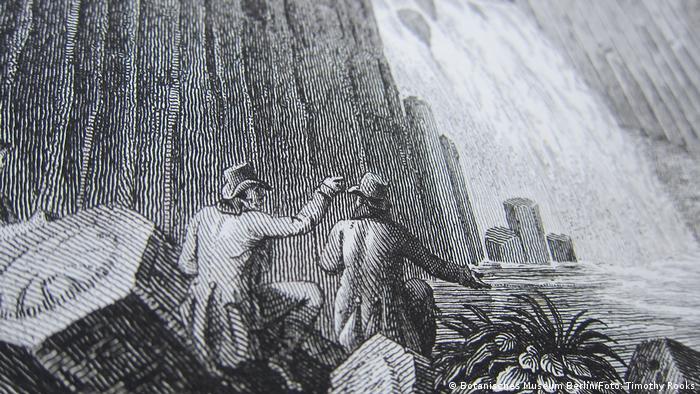 Alexander von Humboldt und Aime Bonpland am Wasserfall von Regla in Mexiko, 1803, aus seinem Buch Vues des Cordilleres et monumens des peuples indigenes de l'Amerique