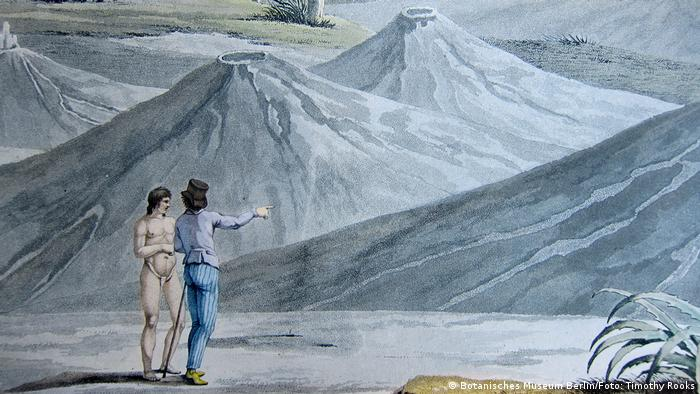 Alexander von Humboldt exploring the air volcanoes of Turbaco, in Colombia in 1801 - photo by Timothy A. Rooks (Source: Library of the Berlin Botanical Museum)