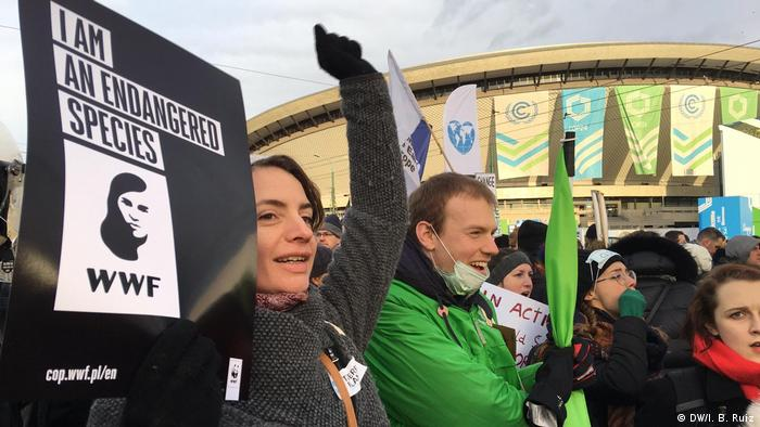 Climate protest in Katowice, Poland, during COP24