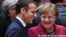 Belgien, EU-Gipfel - Emmanuel Macron, Präsident von Frankreich und Bundeskanzlerin Angela Merkel