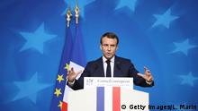 French president Emmanuel Macron holds a press conference after the European Council on December 13 2018, in Bruxelles. - Macron says EU can 'clarify' not renegotiate Brexit deal, AFP reports on December 14, 2018. (Photo by Ludovic MARIN / AFP) (Photo credit should read LUDOVIC MARIN/AFP/Getty Images)