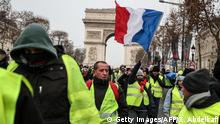 Yellow vest protesters on the Champs-Elysees
