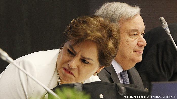 Die Mimik von UN-Klimasekretärin Patricia Espinosa spricht Bände. Neben ihr Generalsekretär Antonio Guterres (Foto: picture-alliance/AP Photo/C. Sokolowski)