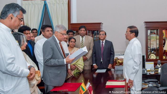 Ranil Wickremesinghe was sworn in as PM on Sunday (Reuters/President's Media Division of Sri Lanka)