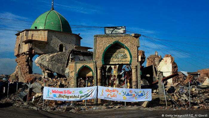 Das hat der Kampf mit der Terrormiliz IS übrig gelassen: der derzeitige Zustand der Al-Nuri-Moschee in Mossul (Foto: Getty Images/AFP/Z. Al-Obeidi)