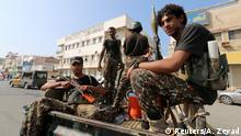 Jemen Huthi patrouillieren in Hodeidah