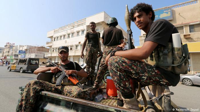 Houthi rebels in Hodeida