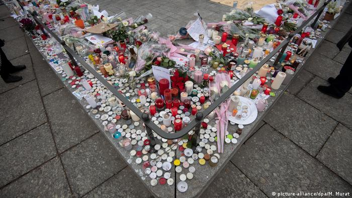 Candles and flowers at a memorial in Strasbourg