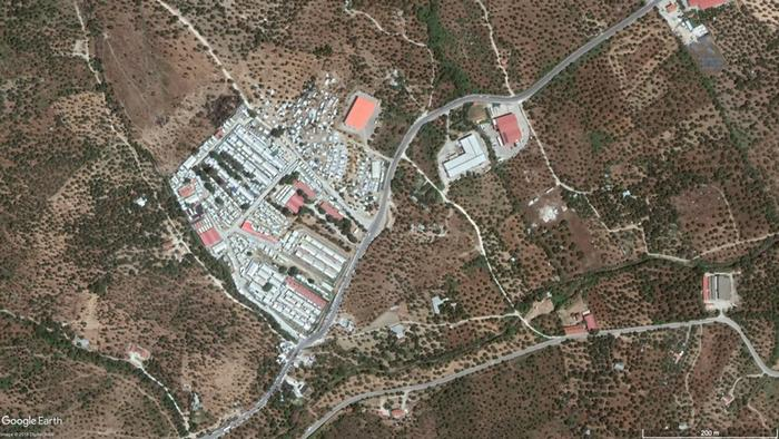 Satellite image Moria reception center on Lesbos