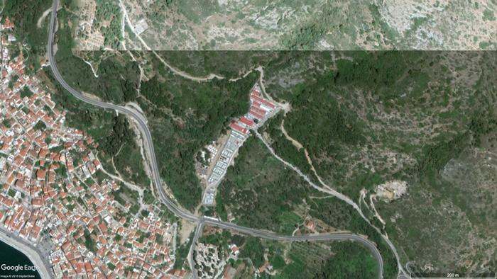 Satellite image Vathi reception center on Samos