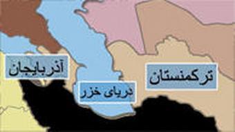 Karte Kaspisches Meer mit Anliegerstaaten Iran schwarz