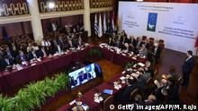 General view of the LIII Common Market Counsel meeting, on the eve of the Mercosur's Presidents Summit in Montevideo on December 17, 2018. - During the South American trading bloc's summit Uruguay will hand over the pro-tempore presidency to Argentina. (Photo by MIGUEL ROJO / AFP) (Photo credit should read MIGUEL ROJO/AFP/Getty Images)