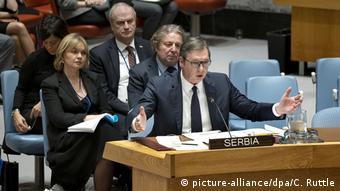 Treffen UN-Sicherheitsrat | Präsident von Serbien Aleksandar Vucic (picture-alliance/dpa/C. Ruttle)