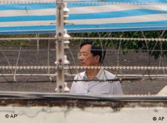 Taiwan former President Chen Shui-bian is seen behind barbed-wire at the Tucheng Detention Center in Taipei County, Taiwan, Friday, Sept. 11, 2009. In a sign of protest Chen refused to be in court Friday when his verdict was to be announced in his high-profile corruption trial. (AP Photo) ** TAIWAN OUT **