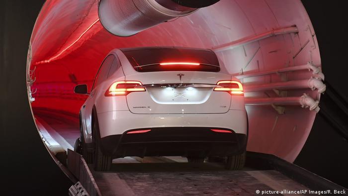 Tesla driving into tunnel