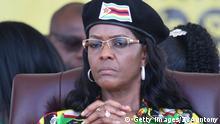 Zimbabwe President's wife Grace Mugabe attends the Zimbabwe ruling party Zimbabwe African National Union-Patriotic Front (Zanu PF) youth interface Rally on November 4, 2017 in Bulawayo. / AFP PHOTO / ZINYANGE AUNTONY (Photo credit should read ZINYANGE AUNTONY/AFP/Getty Images)