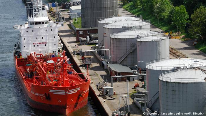 A gas tanker docks at Kiel in Schleswig Holstein