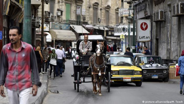 A horse and carriage rides alongside cars in a street