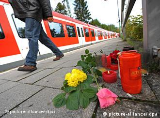 Платформа в Мюнхене, на которй был убит пассажир