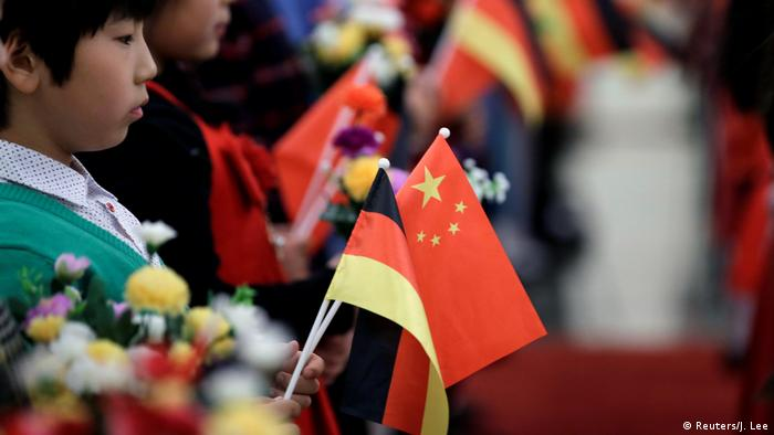 Chinese and German flags in Beijing