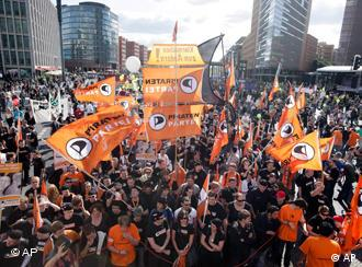 Members of the Pirate Party rally in Berlin