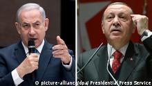 ARCHIV - HANDOUT - 01.04.2018, Berlin:Eine Kombo zeigt den türkischen Staatspräsidenten Recep Tayyip Erdogan bei einer Veranstaltung in Ankara (Türkei, l) und den israelischen Ministerpräsidenten Benjamin Netanjahu auf einer Veranstaltung in München. (zu dpa Verbalattacken zwischen Erdogan und Netanjahu wegen Gaza-Protesten vom 01.04.2018) Foto: -/Pool Presidential Press Service/AP/dpa - ACHTUNG: Nur zur redaktionellen Verwendung und nur mit vollständiger Nennung des vorstehenden Credits +++(c) dpa - Bildfunk+++ |