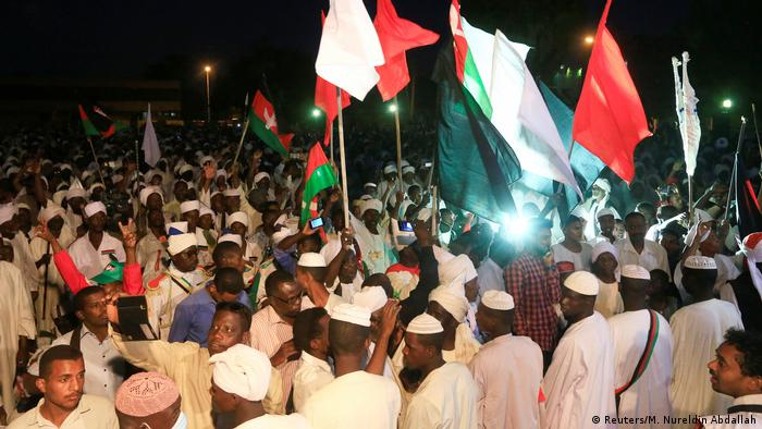 Sudanese supporters of opposition leader Sadiq al-Mahdi gather in Khartoum
