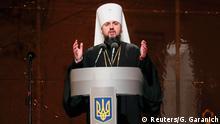 December 15, 2018. Newly elected head of the independent Ukrainian Orthodox church Metropolitan Epifaniy (Dumenko) speaks at the Saint Sophia's Cathedral in Kiev, Ukraine December 15, 2018. REUTERS/Gleb Garanich