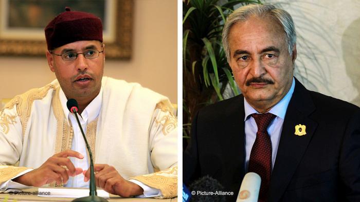Kombobild Saif al-Islam Gaddafi und Khalifa Haftar