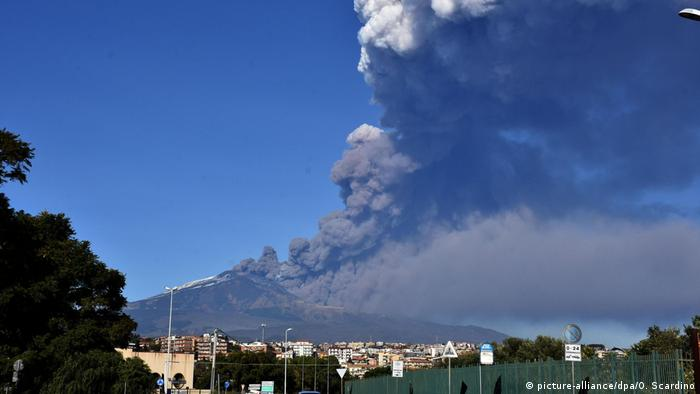 Etna spewing out ashes and smoke