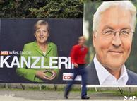 Предвыборные плакаты с изображением Ангелы Меркель и Франка-Вальтера Штайнмайера