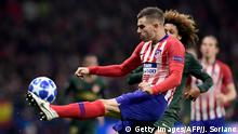 Atletico Madrid's French defender Lucas Hernandez (L) vies with Monaco's French midfielder Han-Noah Massengo during the UEFA Champions League group A football match between Atletico Madrid and Monaco at the Wanda Metropolitan stadium in Madrid on November 28, 2018. (Photo by JAVIER SORIANO / AFP) (Photo credit should read JAVIER SORIANO/AFP/Getty Images)