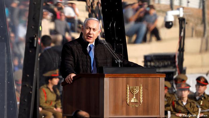 Israelischer Premier Benjamin Netanjahu spricht vor Luftwaffesoldaten (Reuters/A. Cohen)