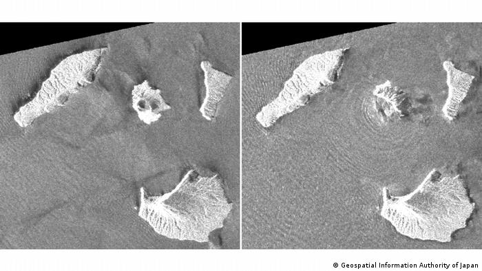 Before-and-after images of Anak Krakatu (Geospatial Information Authority of Japan)