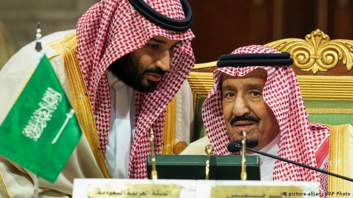 Saudi Arabia's crown prince Mohammed bin Salman with his father, King Salman