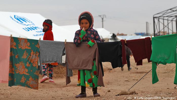 Two children in a refugee camp in Syri