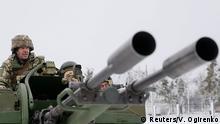 Ukraine Oblast Tschernihiw Militärübung Armee Schnee