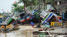 Indonesien Tsunami zerstörte Fischerboote