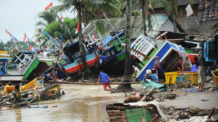 Indonesian boats destroyed by tsunami