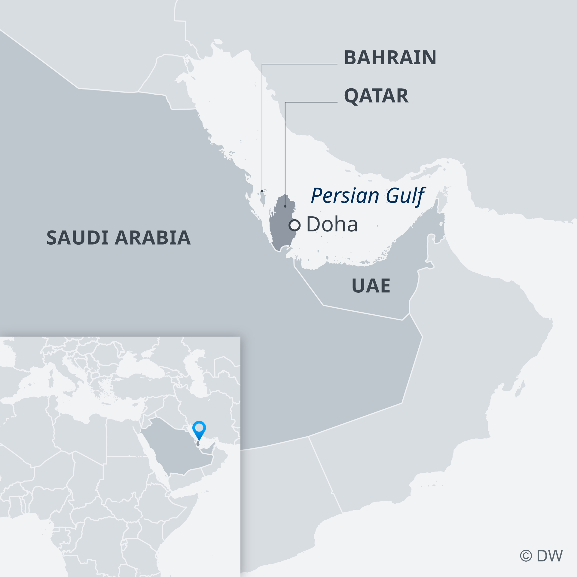 A map showing Bahrain