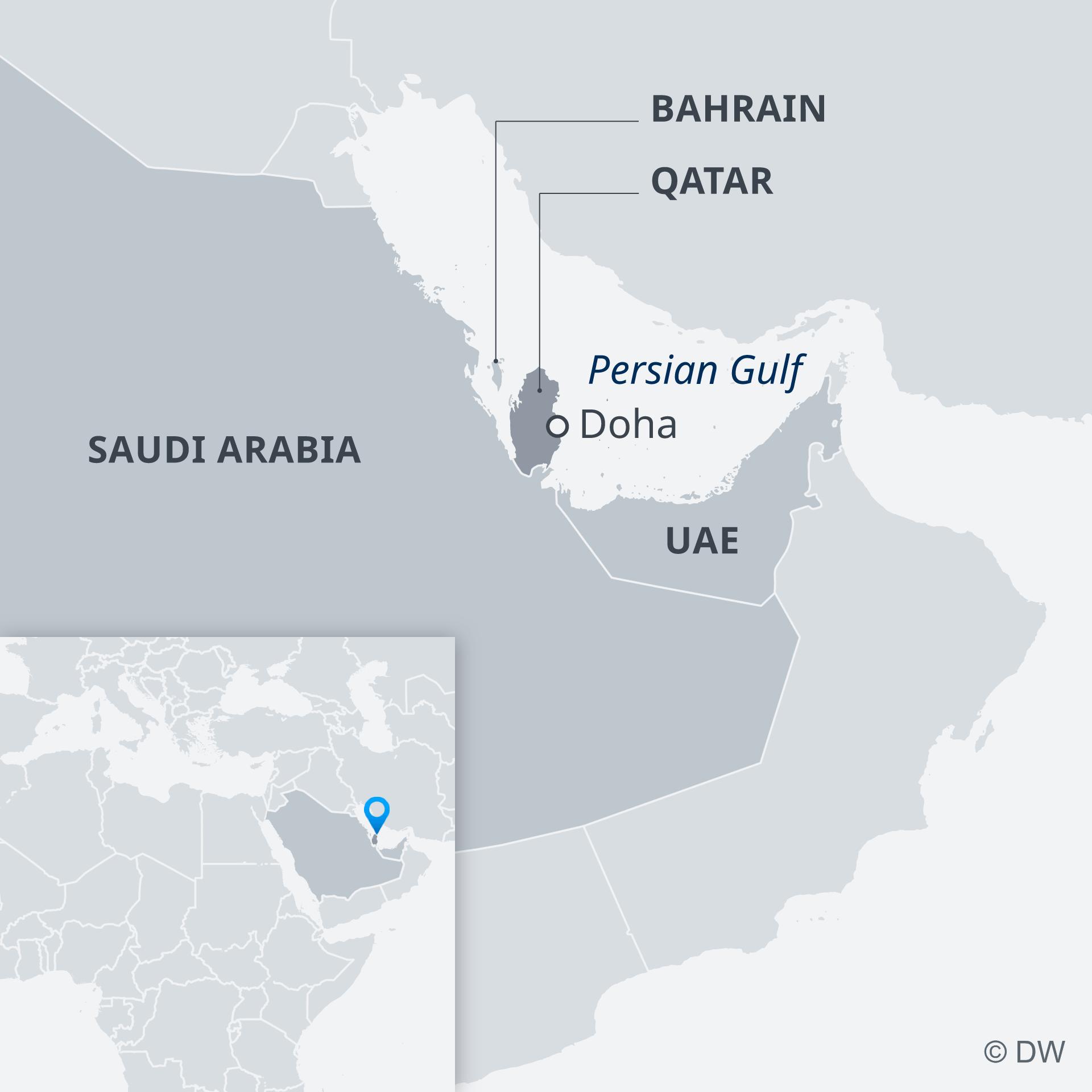 A map showing Saudi Arabia, Bahrain, Qatar and the UAE
