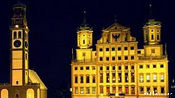 Rathaus in Augsburg Nacht